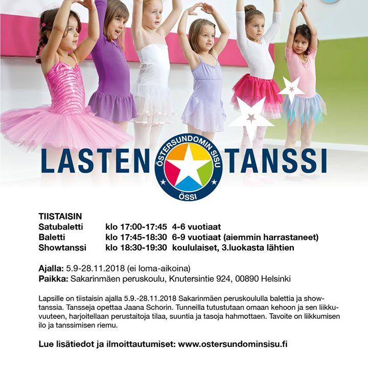 Balettia ja Showtanssia lapsille tiistaisin ajalla Sakarinmäen. Tansseja opettaa Jaana Schorin. Lue lisätiedot ja…