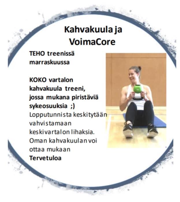 TEHO treenissä marraskuussa KOKO vartalon kahvakuula treeni, jossa mukana piristäviä sykeosuuksia Lopputunnista keskitytään vahvistamaan…